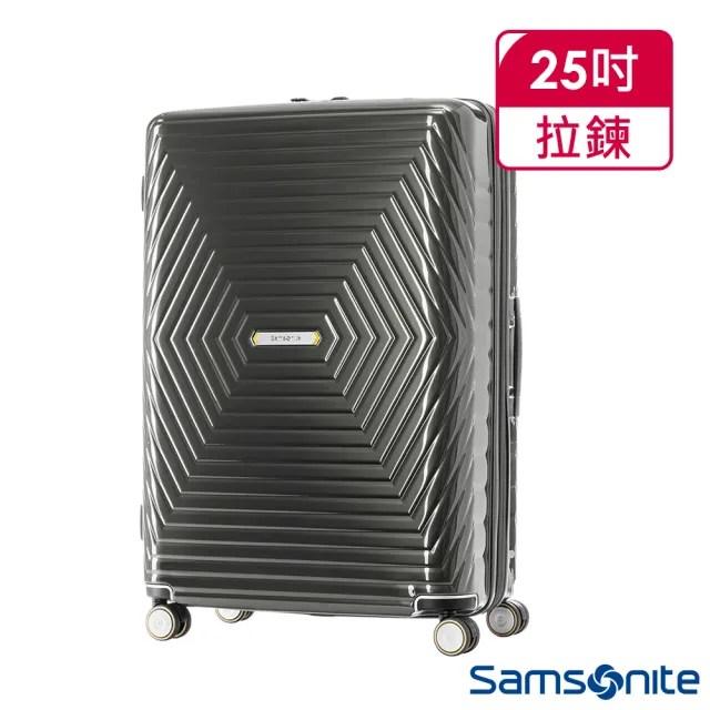 【Samsonite 新秀麗】25吋Astra 立體幾何光澤PC可擴充TSA海關鎖行李箱 炭灰(DY2)