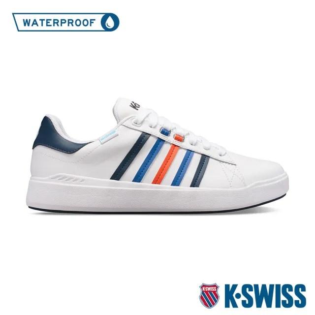 【K-SWISS】防水時尚運動鞋 Pershing Court Light WP-男-白/藍/橘紅(06387-148)