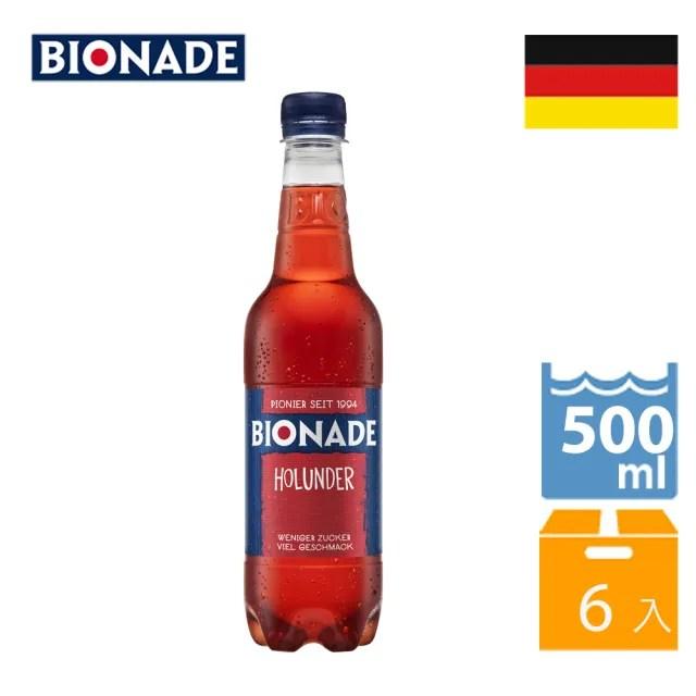 【Bionade 比奧納德】天然氣泡飲料-接骨木莓口味 500mlx6入(德國原裝進口)