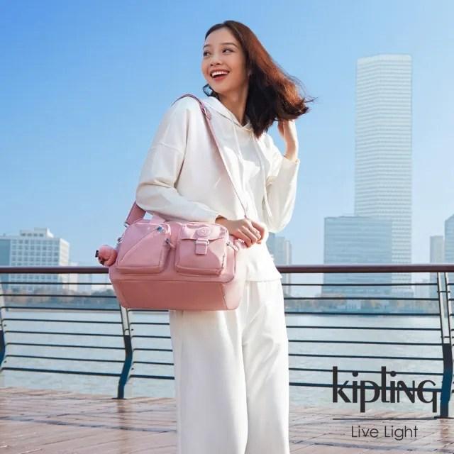 【KIPLING】玫瑰石英粉多層實用手提側背包-DEFEA
