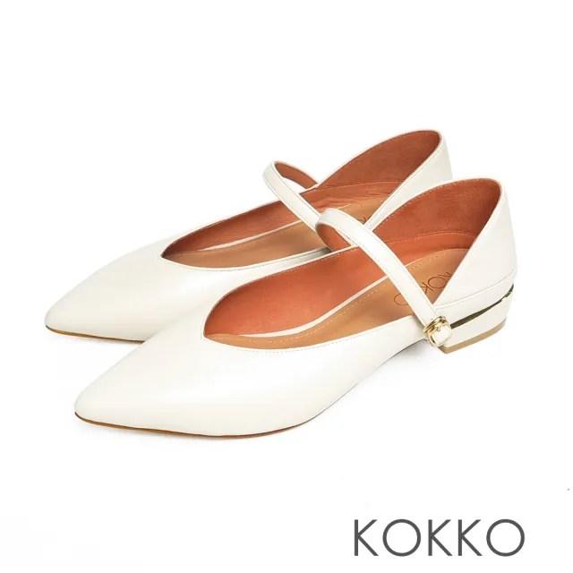 【KOKKO 集團】經典尖頭柔軟小羊皮瑪莉珍粗跟鞋(霧米)