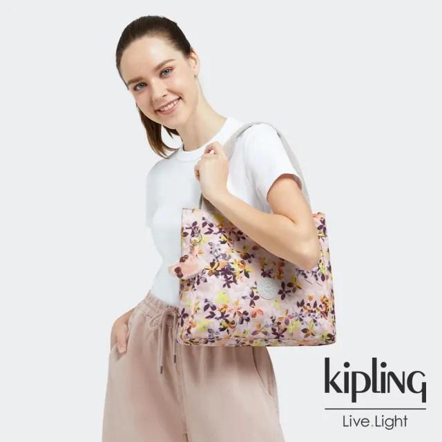 【KIPLING】飄零落花粉典雅手提托特包-HALSTEIN