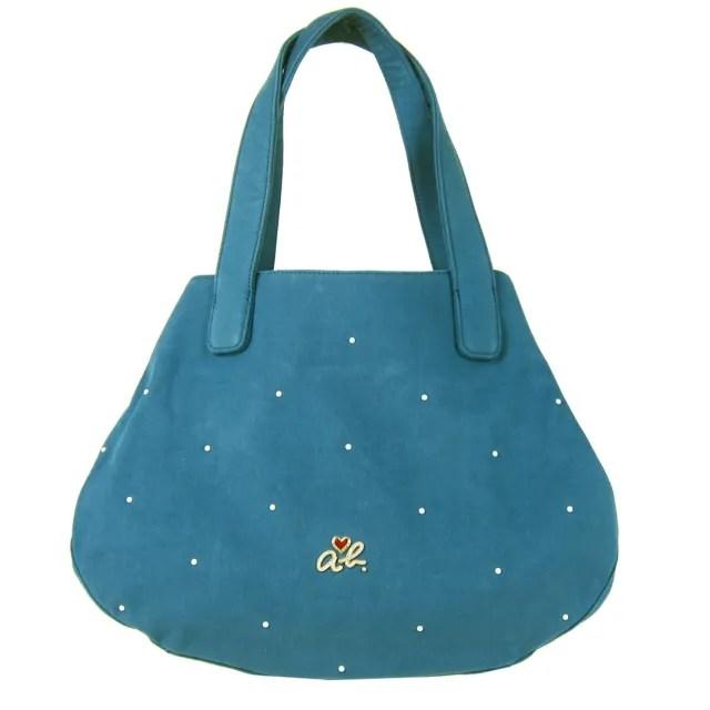 【agnes b.】ab heart珍珠logo點點帆布手提包(大/藍)