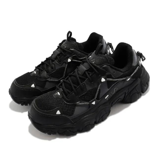 【FILA】休閒鞋 Fluid 復古越野跑鞋 女鞋 斐樂 貓爪鞋 戶外風格 老爹鞋 穿搭 黑(4C619V001)