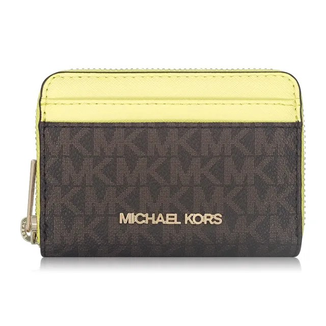 【Michael Kors】滿版LOGOㄇ型拉鍊零錢包-咖黃
