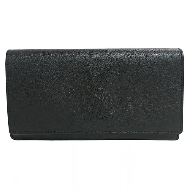 【YSL】YSL SAINT LAURENT浮雕LOGO牛皮12卡釦式長夾(黑)