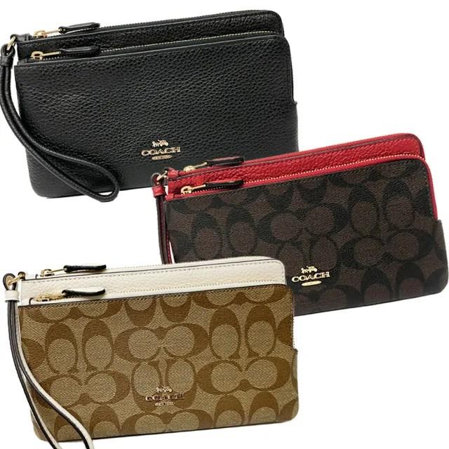 【COACH】新款長夾式零錢袋雙層大手拿包(多色選一)