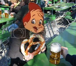 alvin (from alvin and the chipmunks) with a gargantuan pretzel and a frosty mug