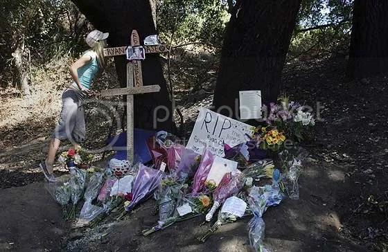 Memorial for Ryan Case on Live Oak Canyon Rd. He was 18 when he over corrected and struck a tree.