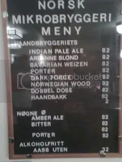Beer list at Parkteatret