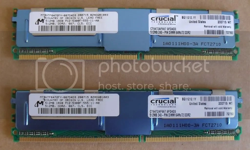 CRUCIAL 1GB 2X512MB DDR2 PC2 5300F ECC REG SERVER RAM
