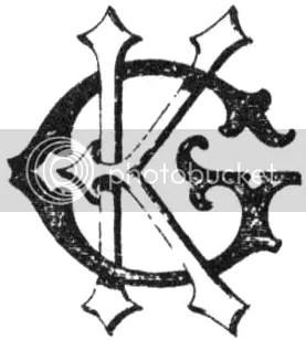 Logo da Tactical Studies Rules: o G de Gygax e o K de Kaye