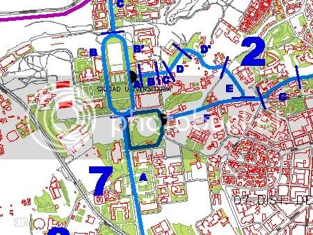 [mapa: vs previstas en la Ciudad Universitaria]