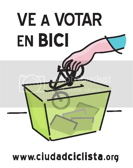 [cartel: ve a votar en bici]