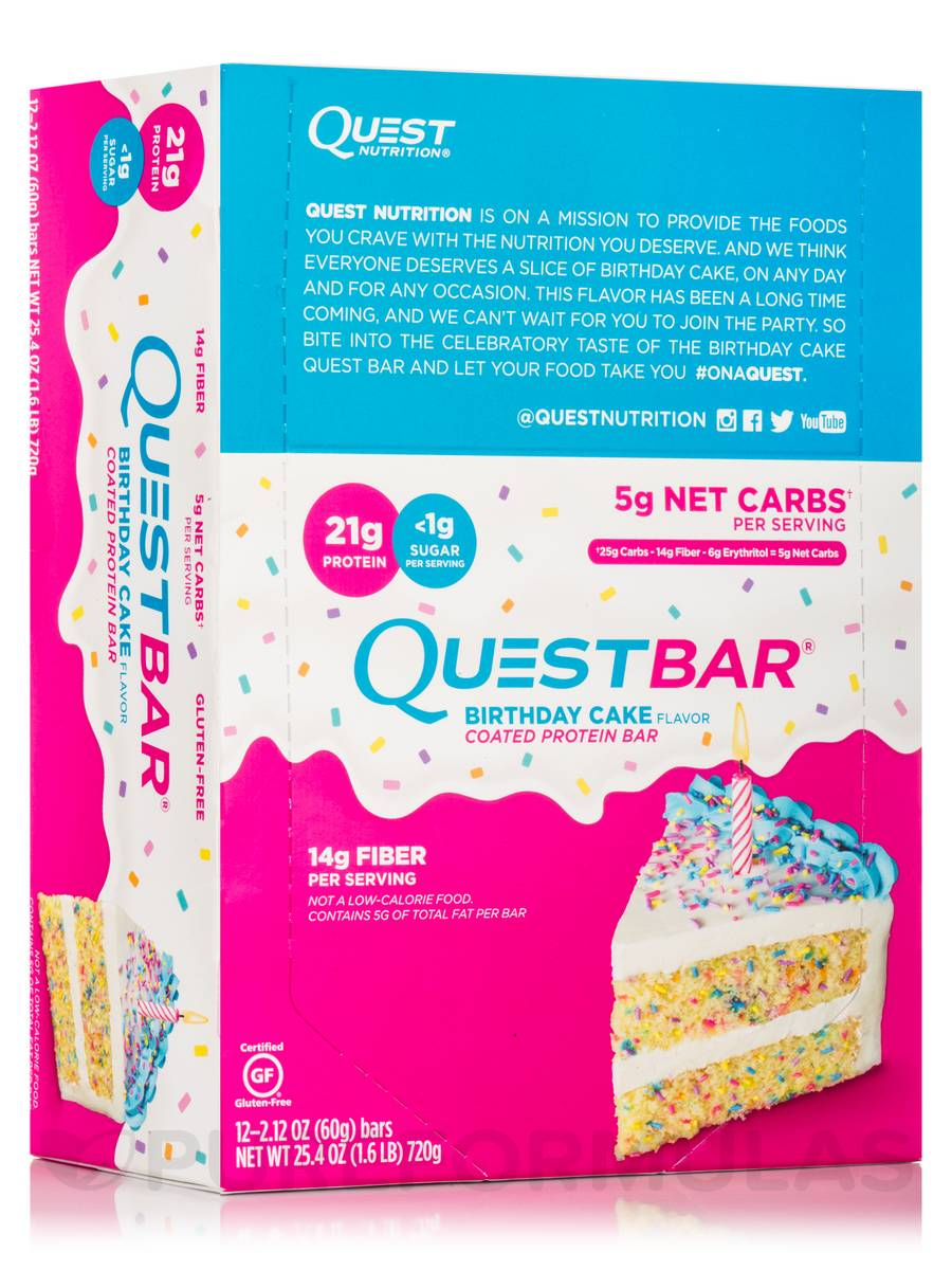 Quest Bar Birthday Cake Flavor Protein Bar Box Of 12 Bars 2 12 Oz 60 Grams