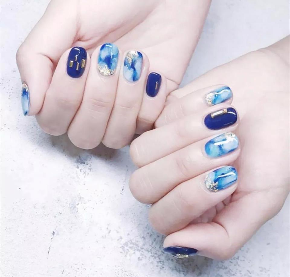 35款藍色暈染美甲 指尖比海洋星辰還美~ - 壹讀