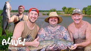 Brad and Matty Matheson Go Noodling for Catfish Part 1 | It's Alive | Bon Appétit