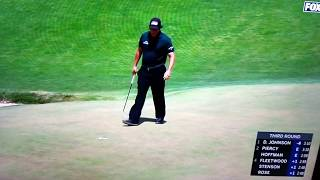 Phil Mickelson SNAPS, putts moving ball, 2018 US Open