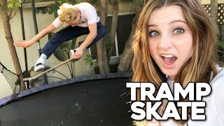 PRO SKATER VS GIRLFRIEND!! | Trampoline Skateboarding