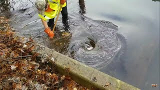 Unclogging Massive Lake Drain, Worst Clog I Have Ever Seen, Whirlpools Massive