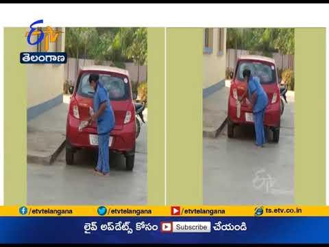 సెలైన్తో వైద్యుడి కారు తుడిచిన నర్సు-[Video] - Kurnool District Huzurabad Nurse Uses Saline Water To Clean Dr.Pratyusha Car