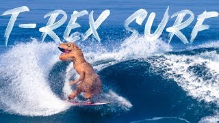 WE SURFED IN T-REX SUITS