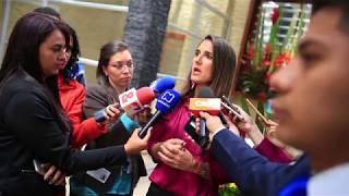 Ministra de Educación Yaneth Giha en rueda de prensa sobre el anuncio de paro de Fecode