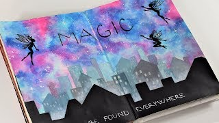 Magic art journal tutorial. How to paint simple galaxy and city skyline with acrylics.