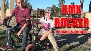 KIDS RIDING MINI BMX ROCKER ON TRACKS & JUMPS
