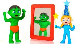SUPERHERO BABY PRETENDS TO BE A STRONG MAN ❤ SUPERHERO BABIES PLAY DOH CARTOONS FOR KIDS