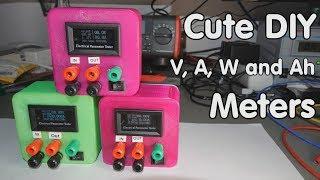 #197 Cute and versatile DIY Volt, Ampere, Power, efficiency and Capacity Meters