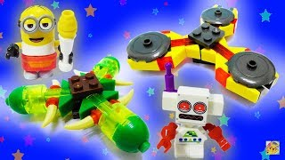 MONTANDO HAND SPINNERS COM BLOCOS da Mega Construx! Batalha Minion VS Clive (メガコンストラックス カスタムスピナー)