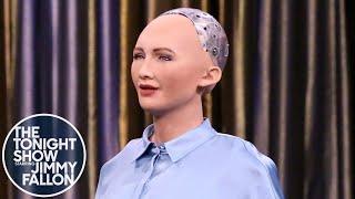 Tonight Showbotics: Jimmy Meets Sophia the Human-Like Robot