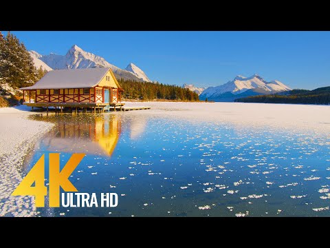 Wintertime Beauty of Canadian National Parks - 4K Relaxation Video with Nature Sounds - Part #2