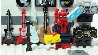Lego Spider man Brick Building Music Shop Superheroes Animation