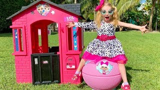 Stacy pretend play with pink playhouse and toys