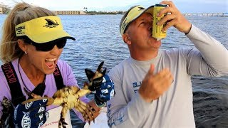 CAN CRUSHING Force of a Stone CRAB CLAW! Crabbing in Florida!