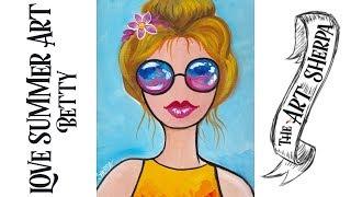 Easy Girl acrylic painting tutorial | beginners | step by step #lovesummerartreboot