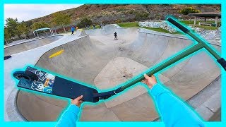 Testing Worlds LARGEST Scooter Deck at Skatepark!