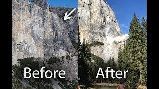 El Capitan before and after rockslide, Yosemite National Park , monolith granite rock fall,