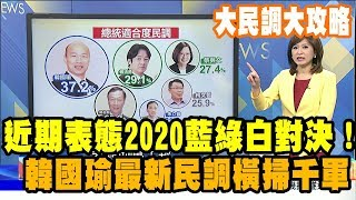 2019.04.21大民調大攻略完整版 近期表態2020藍綠白對決! 韓國瑜最新民調橫掃千軍