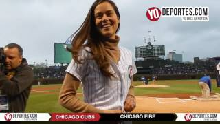 Ana Ivanovic Bastian Schweinsteiger Juninho Dax McCarty Drew Conner at Chicago Cubs Wrigley Field