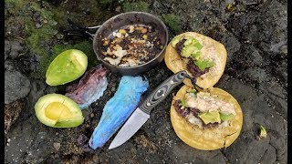 Catch and Cook in the RAIN on the ROCKS: Most Delicious Fish Tacos!!