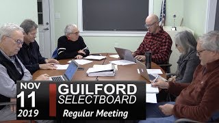 Guilford Selectboard Mtg 11/11/19