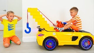 Vlad and Nikita play with Toy Tow Truck for children