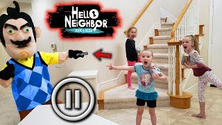 Hello Neighbor Pause Challenge in Real Life! Poopsie Unicorn Slime Toys Scavenger Hunt!!