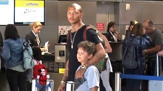 EXCLUSIVE - Hot Felon Jeremy Meeks And Son Jeremy Jr. Catch A Flight Together