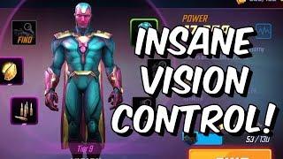 Insane Vision Control! - Vision Overview & Endgame Blitz Gameplay - Marvel Strike Force