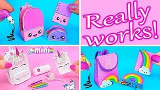 DIY Miniature School Supplies That Really Works! Kawaii, Rainbow, Unicorn