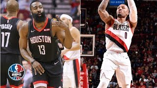 James Harden battles it out with Damian Lilliard in Rockets' win | NBA Highlights